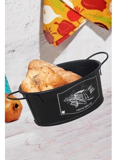 Kitchen Love 24X14X7Cm Siyah Kulplu Metal Oval Ekmeklik-Siyah Siyah